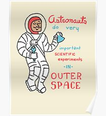 Scientific Astronauts - funny cartoon drawing with handwritten text Poster