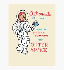 Scientific Astronauts - funny cartoon drawing with handwritten text Photographic Print
