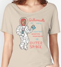 Scientific Astronauts - funny cartoon drawing with handwritten text Women's Relaxed Fit T-Shirt