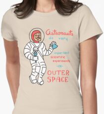 Scientific Astronauts - funny cartoon drawing with handwritten text Womens Fitted T-Shirt