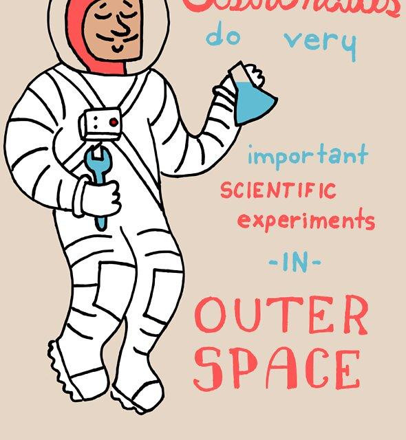 Scientific Astronauts - funny cartoon drawing with handwritten text by DiabolickalPLAN