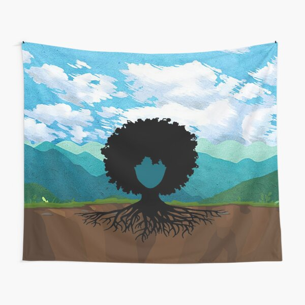 Afro hair tree Tapestry