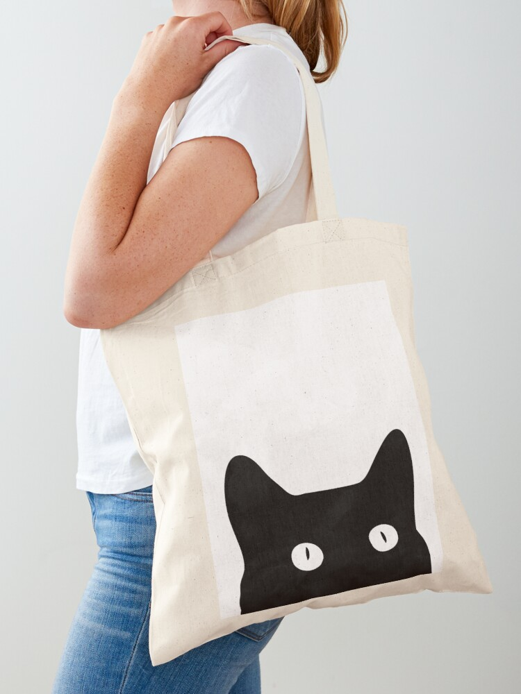 cotton bag cotton bag Black Cat tote bag canvas bag cat bag tote bag
