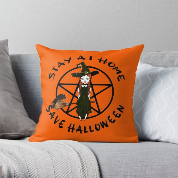 Stay At Home Save Halloween Cheeky Witch® Throw Pillow