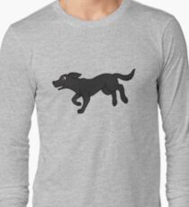 Camiseta de manga larga Black Labrador Retriever corriendo