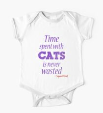 Time spent with cats... Short Sleeve Baby One-Piece