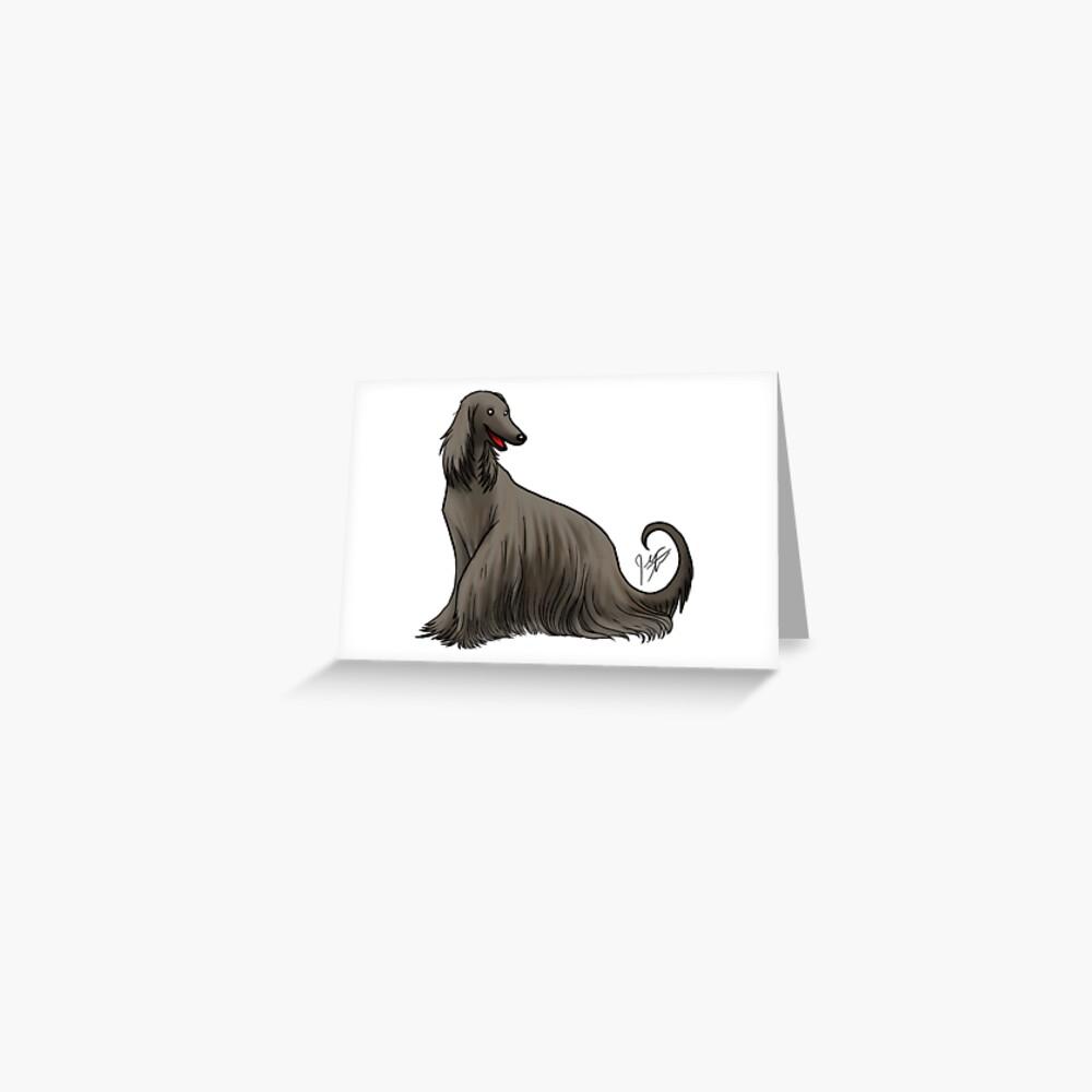 Afghan Hound - Black Greeting Card