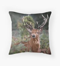 Red Deer Antler Adornment Throw Pillow
