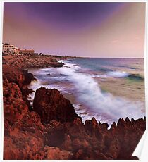 Colorful Coastal Waves Poster