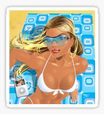 Sexy Beach Girl Retro Cool Sticker