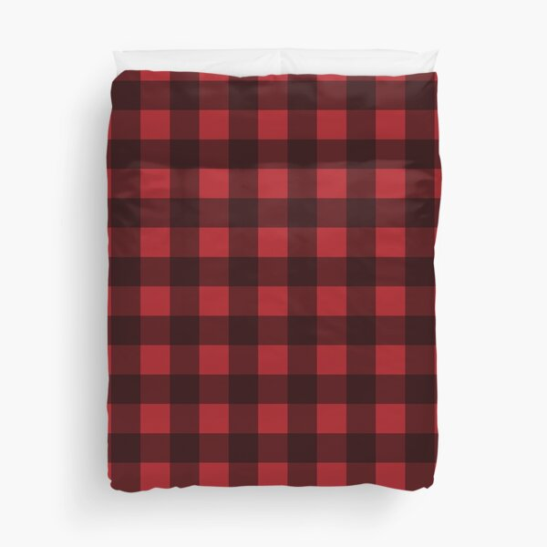 Buffalo Plaid in Lumberjack Red and Black Duvet Cover