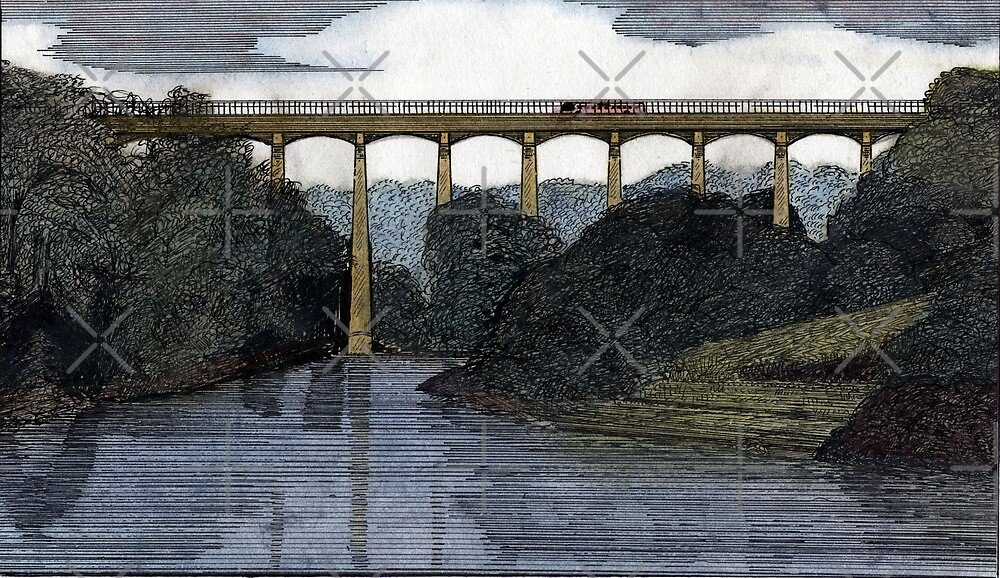 40 - PONTCYSYLLTE AQUEDUCT - DAVE EDWARDS - WATERCOLOUR & INK - 1985 by BLYTHART