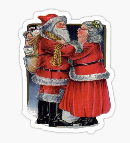 Vintage Mr and Mrs Claus Sticker