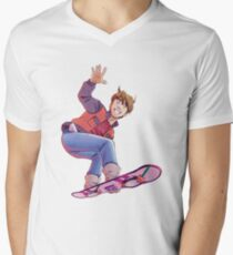 Mcfly on Hoverboard Men's V-Neck T-Shirt