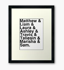 The Cast of Critical Role (Variant 2) - Helvetica List Framed Print