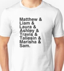 The Cast of Critical Role (Variant 2) - Helvetica List Unisex T-Shirt