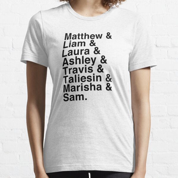 The Cast of Critical Role (Variant 2) - Helvetica List Essential T-Shirt