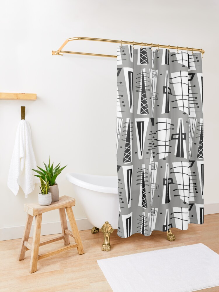 Alternate view of Mid-Century Atomic Era  Shower Curtain