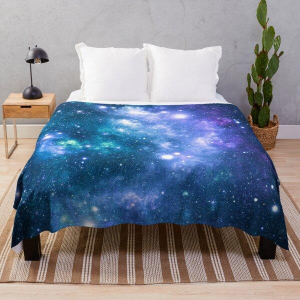 Turquoise Teal Purple Galaxy Nebula Throw Blanket