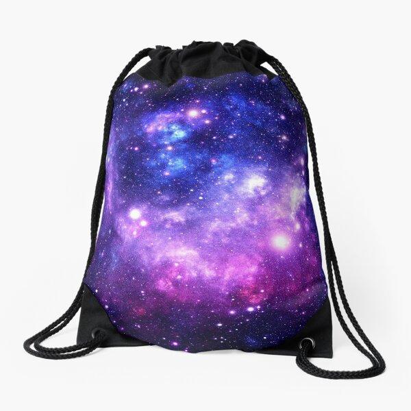 Purple Blue Galaxy Nebula Drawstring Bag