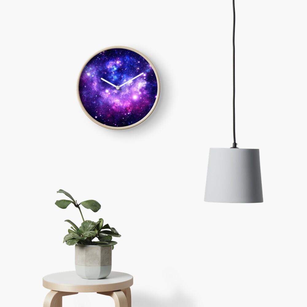 Purple Blue Galaxy Nebula Clock