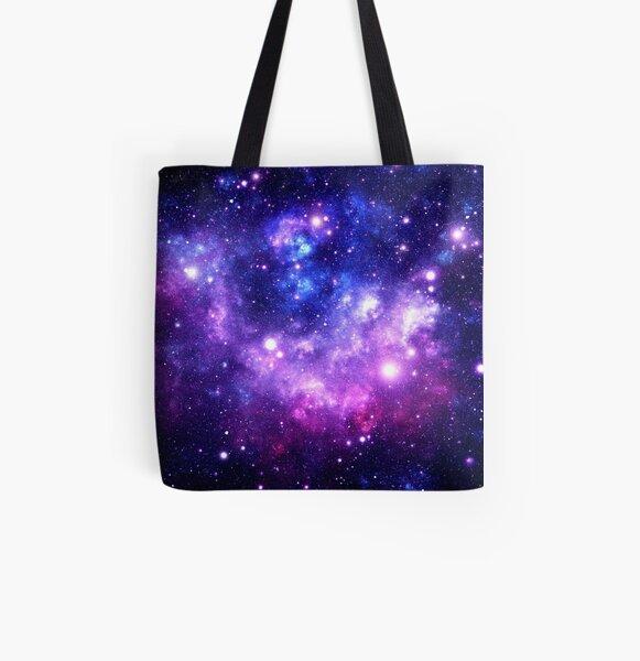 Purple Blue Galaxy Nebula All Over Print Tote Bag
