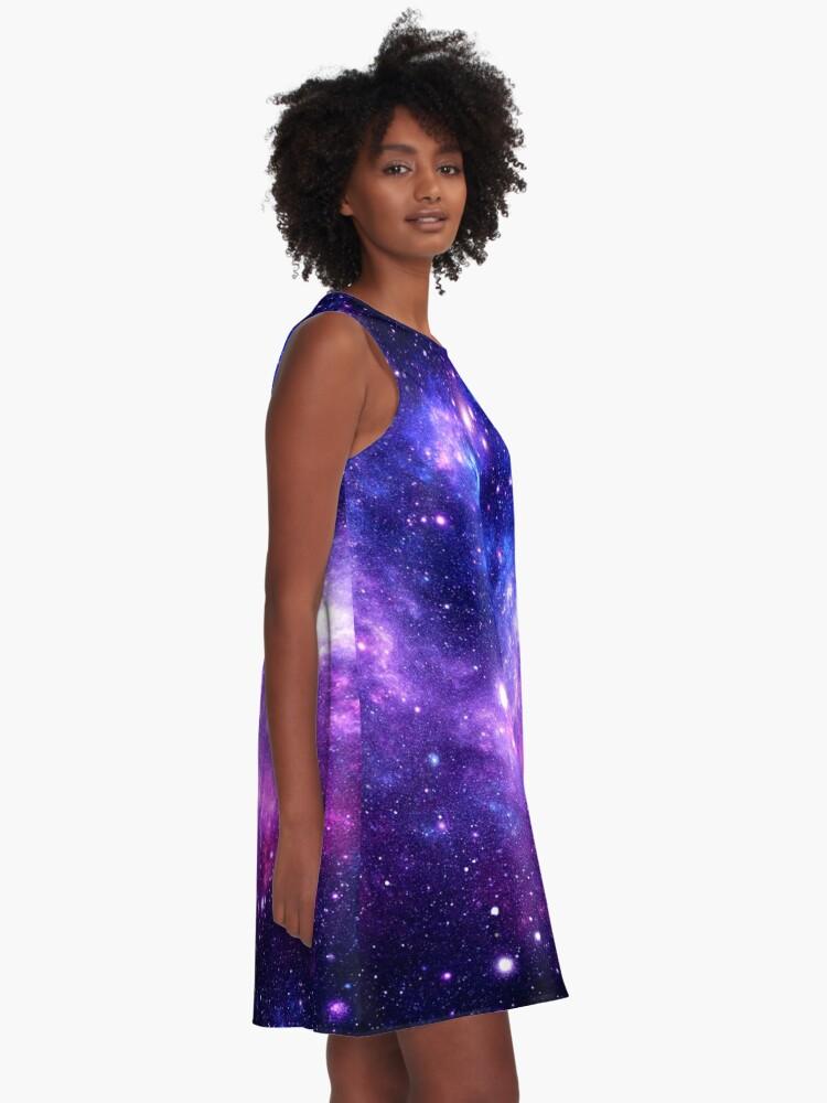 Alternate view of Purple Blue Galaxy Nebula A-Line Dress