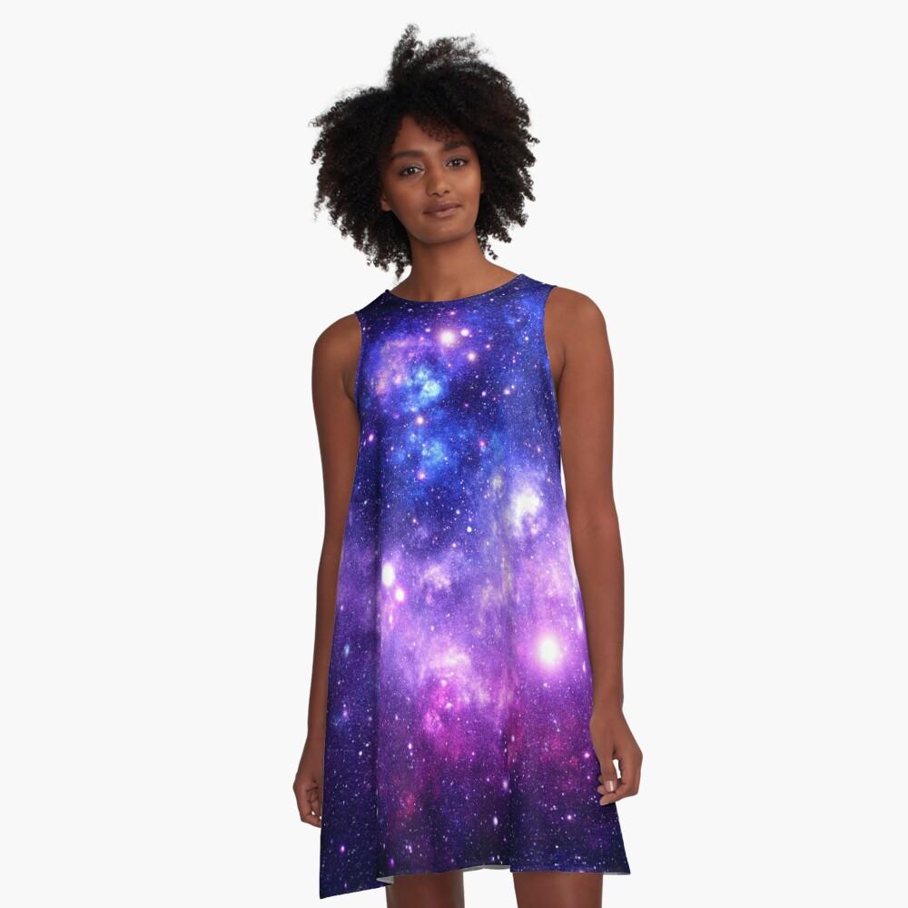 Purple Blue Galaxy Nebula A-Line Dress