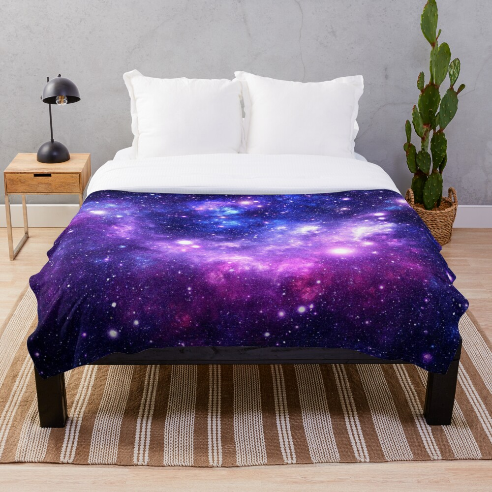 Purple Blue Galaxy Nebula Throw Blanket