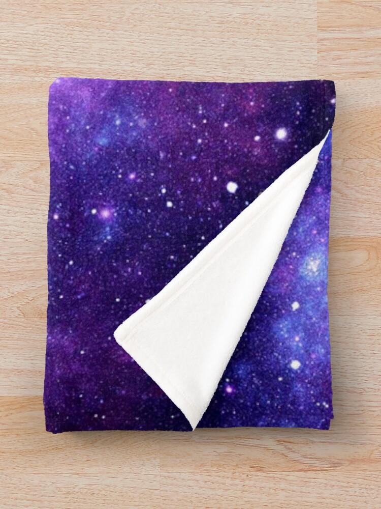 Alternate view of Purple Blue Galaxy Nebula Throw Blanket