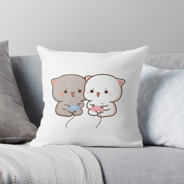 Peach and Goma Mochi Cat Gaming Throw Pillow