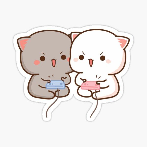 Peach and Goma Mochi Cat Gaming Sticker