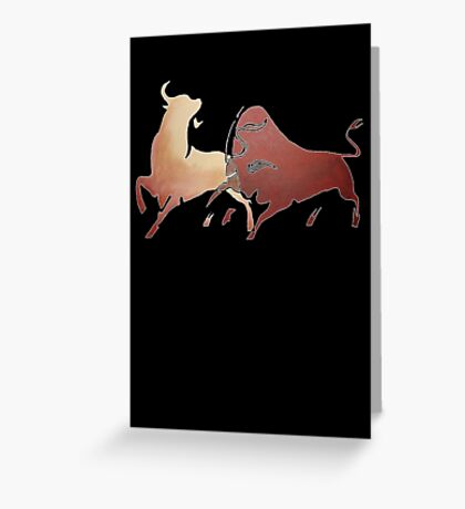 Bull Fight In Brown Greeting Card