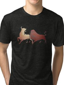 Bull Fight In Brown Tri-blend T-Shirt
