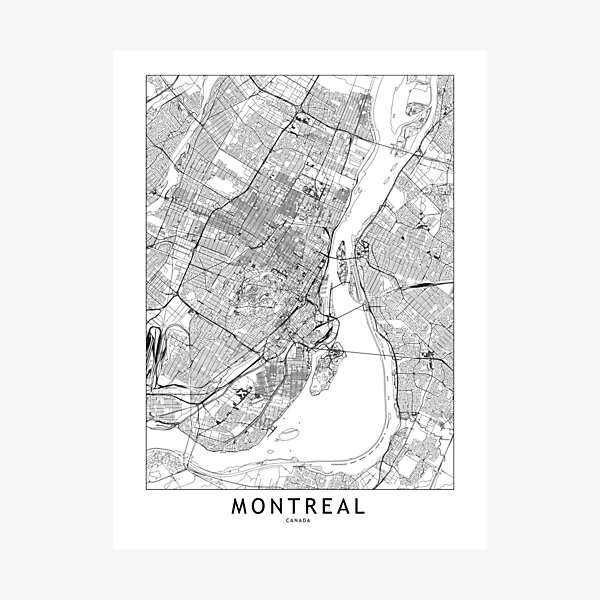 Montreal White Map Photographic Print