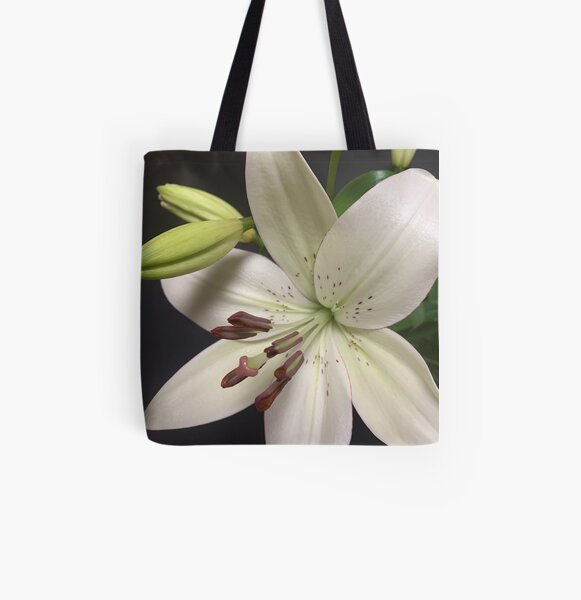 white lilly photograph All Over Print Tote Bag