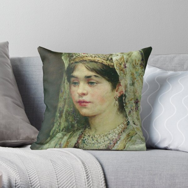 Portrait of a Girl in the Russian Costume Throw Pillow