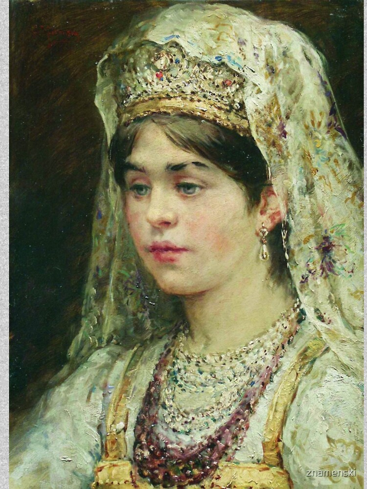 Portrait of a Girl in the Russian Costume by znamenski