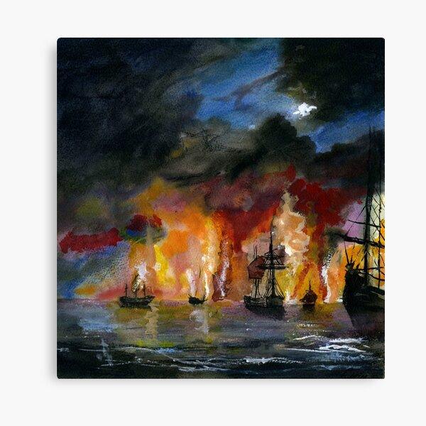 Las naves en llamas Lienzo