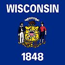 Wisconsin USA State Flag Milwaukee Bedspread T-Shirt Sticker by deanworld