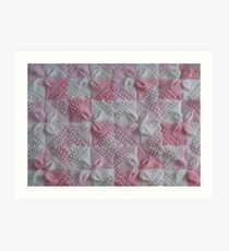 Knitted Pink Square Petals Baby Blanket  Art Print