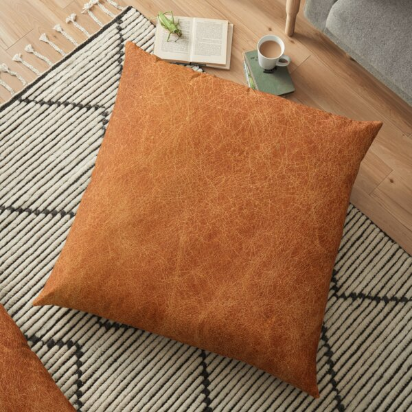 HQ Original Camel Leather Picture by Arteresting Floor Pillow