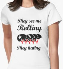They See Me Rolling (Roller Derby) Black design T-Shirt