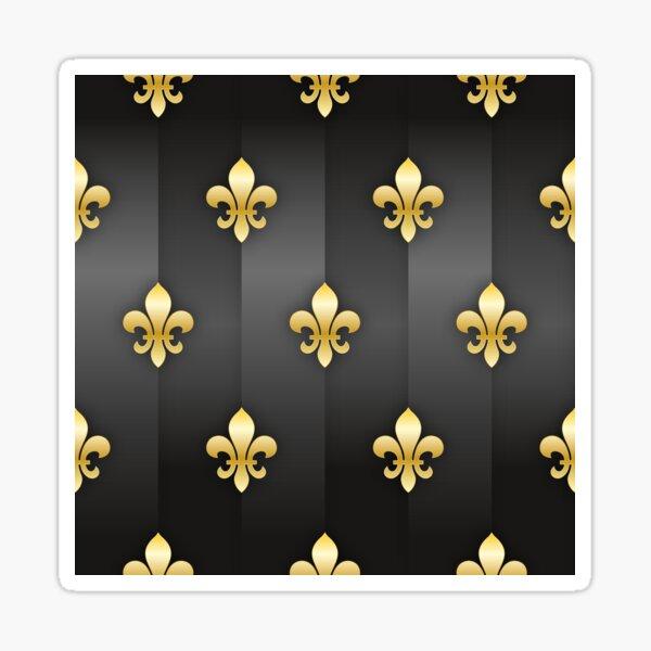 Fleur de Lys / Fleur de Lis Grau-Gold Metallic-Look Sticker