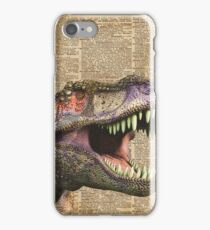 T-rex,tyrannosaurus,dinosaur Vintage Dictionary Art iPhone Case/Skin