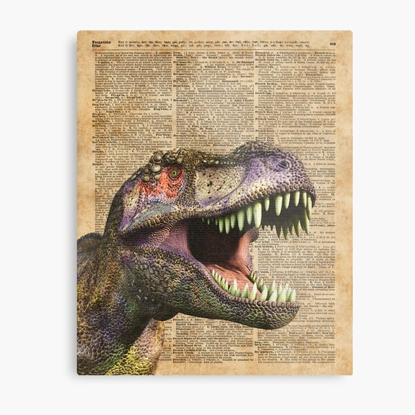 T-rex,tyrannosaurus,dinosaur Vintage Dictionary Art Metal Print