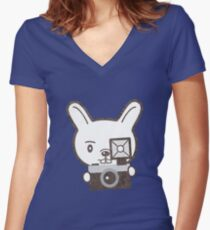 Cute Photographer Rabbit Women's Fitted V-Neck T-Shirt