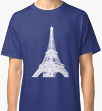 White tour eiffel ink outline - Paris, France Classic T-Shirt