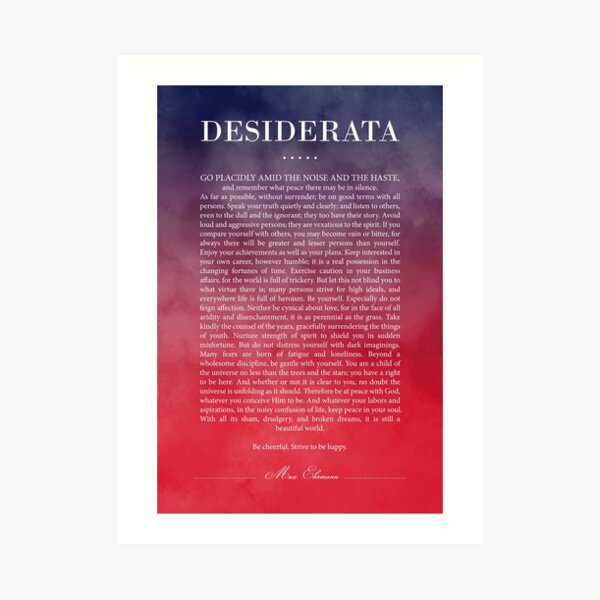 Desiderata quote dictionary page art print reading books literary gift