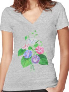 Morning Glory Isolated On White Women's Fitted V-Neck T-Shirt